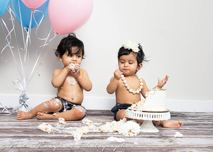 Yuvan & Nyra Twin 1st Birthday Cake Smash Session | Jersey City, NJ Portrait Photographer